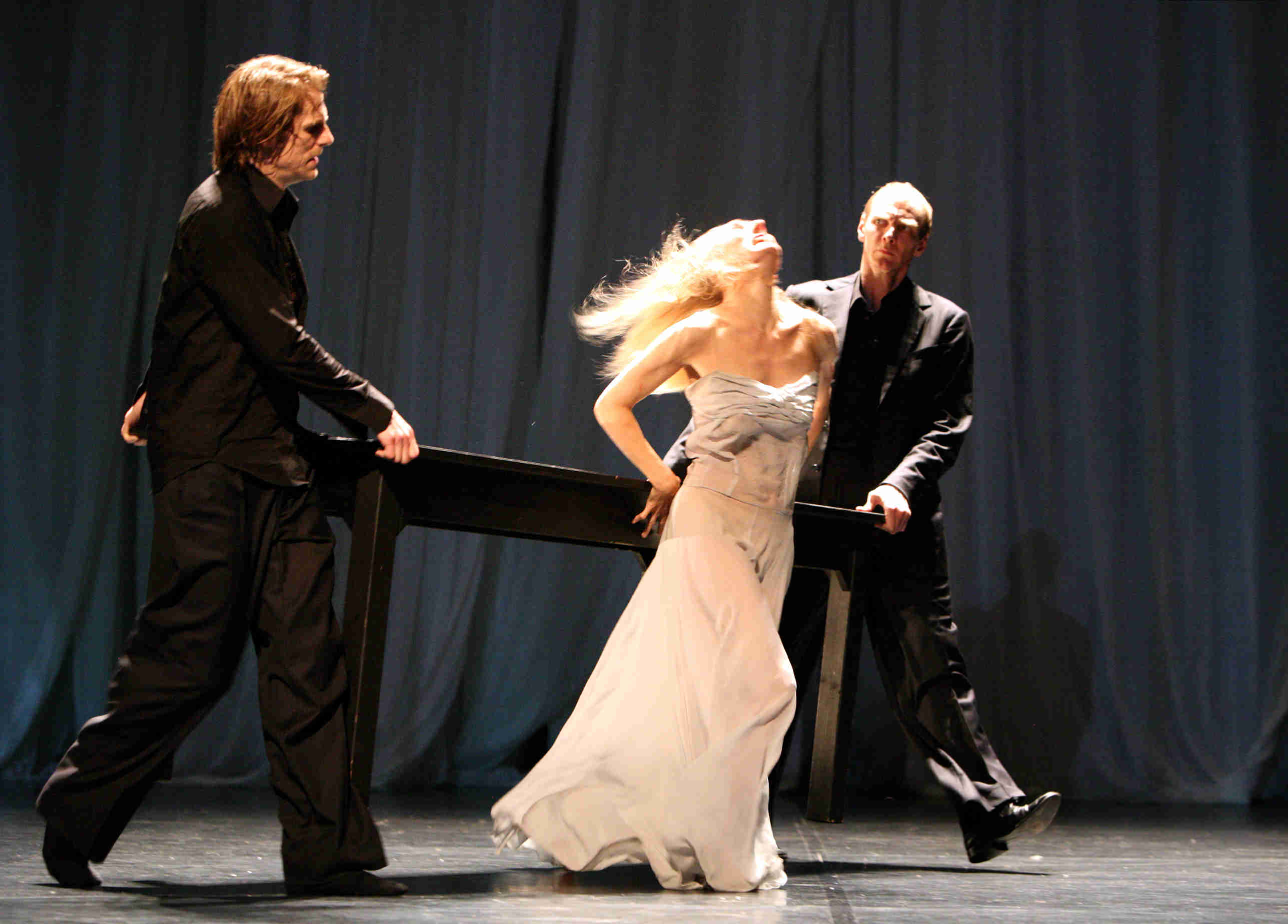 Michael Strecker, Julie Shanahan and Andrey Berezin of Tanztheater Wuppertal Pina Bausch in Sweet Mambo
