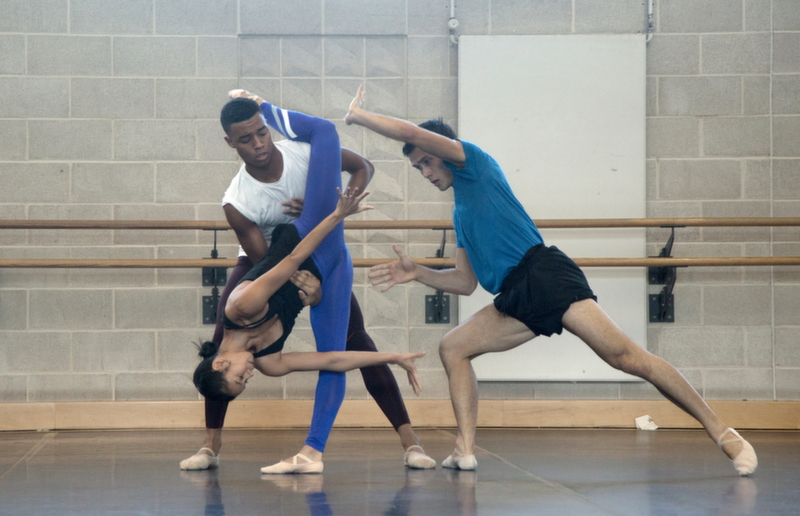 Dancers from Wayne McGregor/Random Dance in rehearsal for Outlier