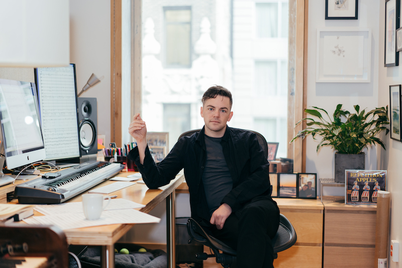 Nico Muhly in his Manhattan workroom