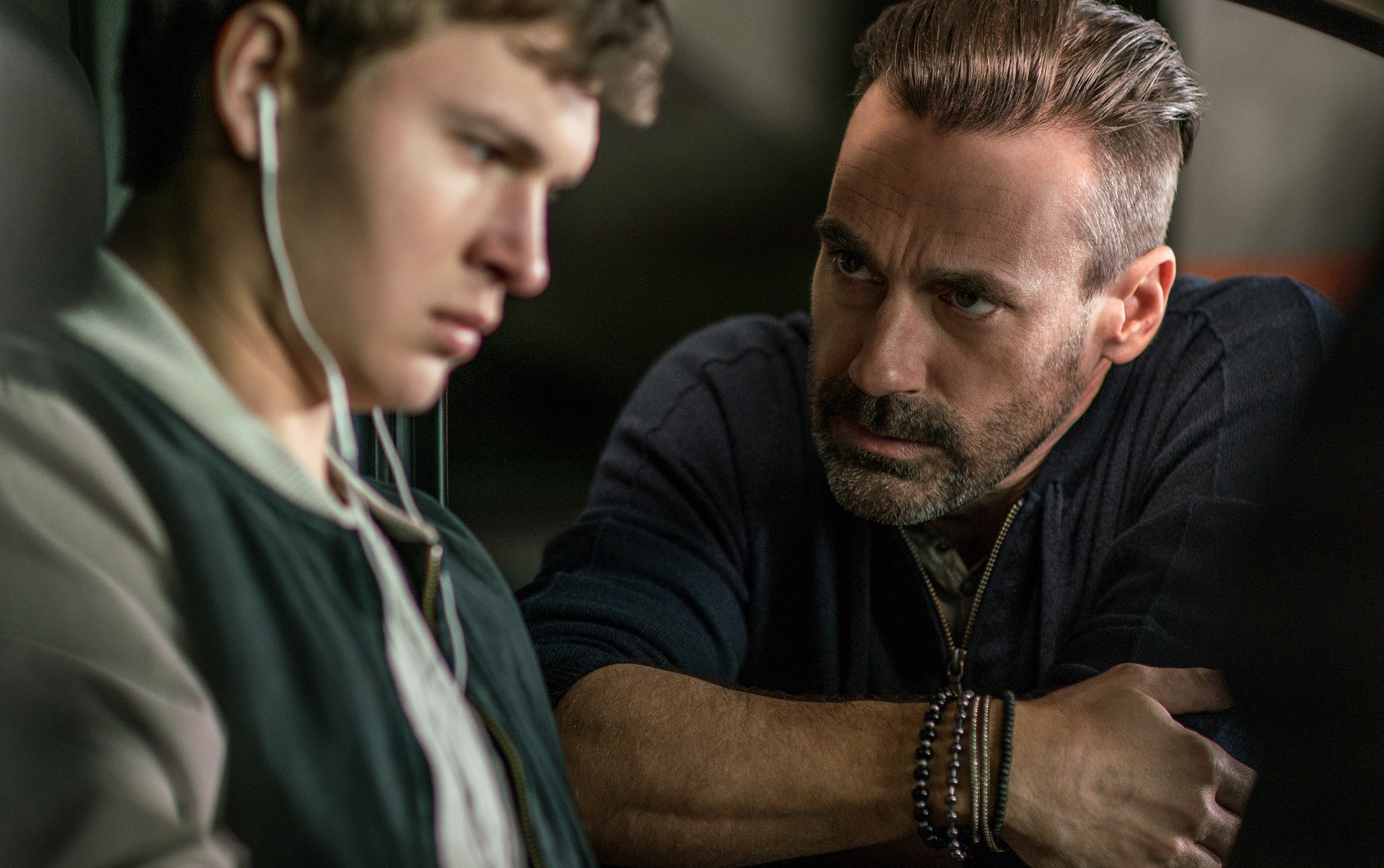 Buddy (Jon Hamm) and Baby (Ansel Elgort) in Baby Driver