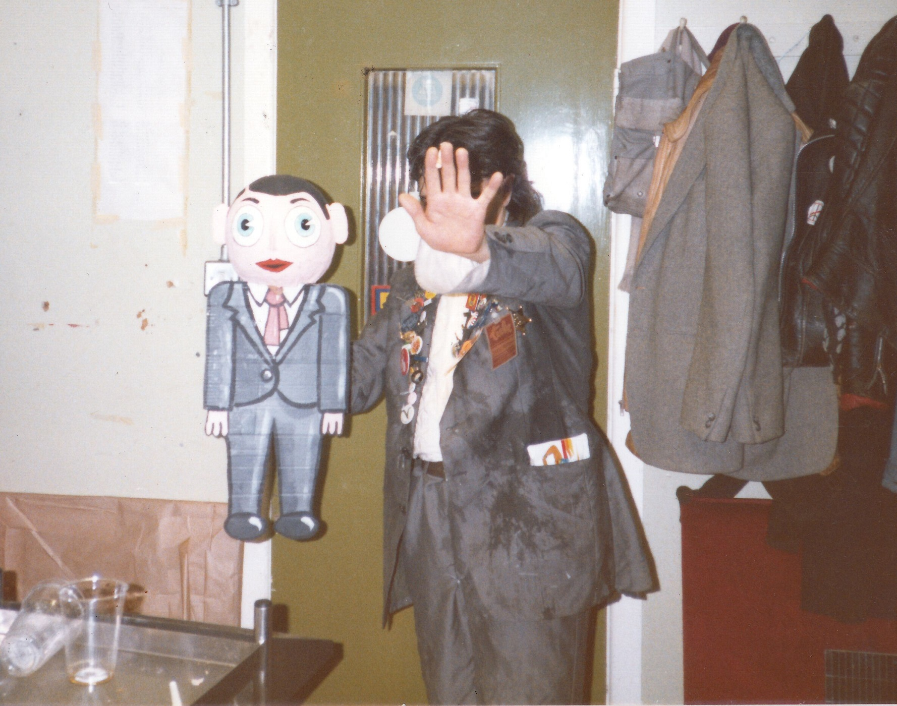 Chris Sievey hides from the camera in Being Frank