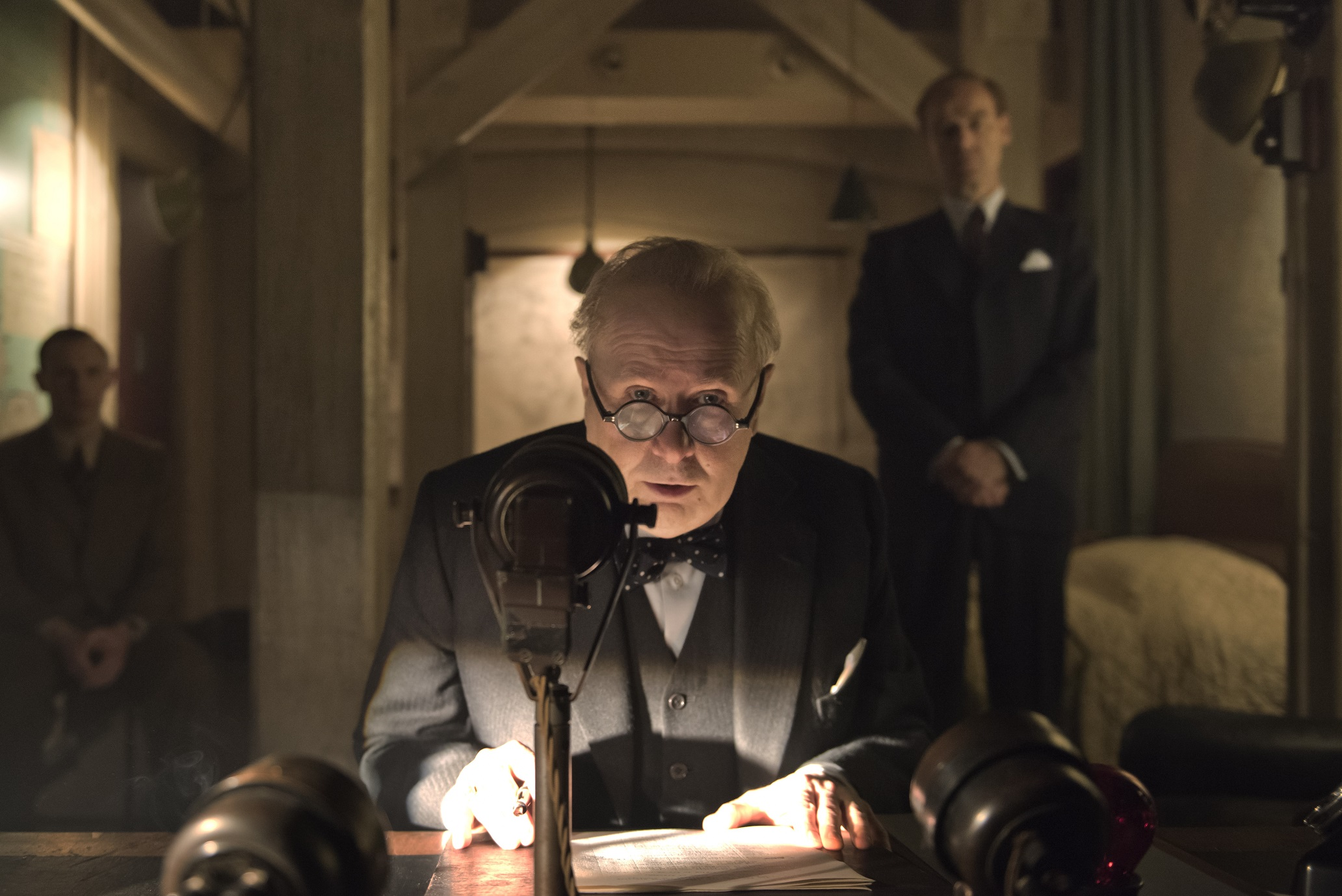 Winston Churchill (Gary Oldman) speaks to the nation