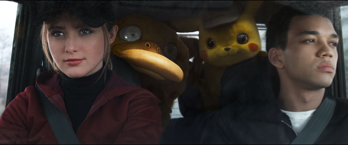 Kathryn Newton, Justice Smith and friends in Pokemon Detective Pikachu