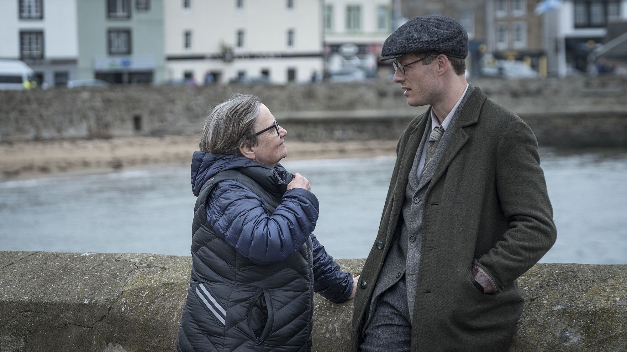 Agnieszka Holland and James Norton on set of Mr Jones