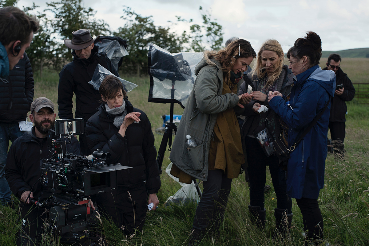 Clio Barnard and crew on set for Dark River