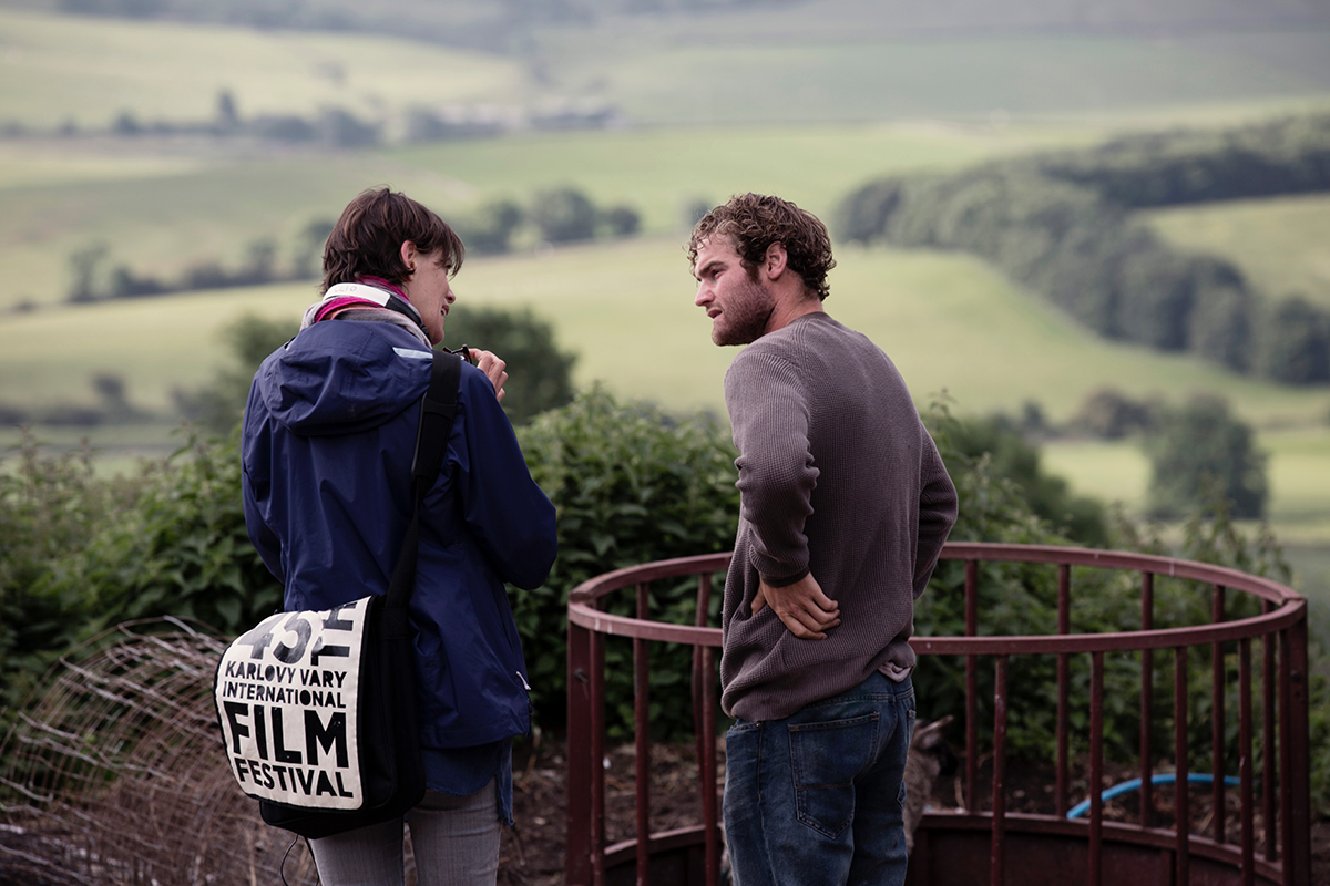 Clio Banard and Mark Stanley on the set of Dark River