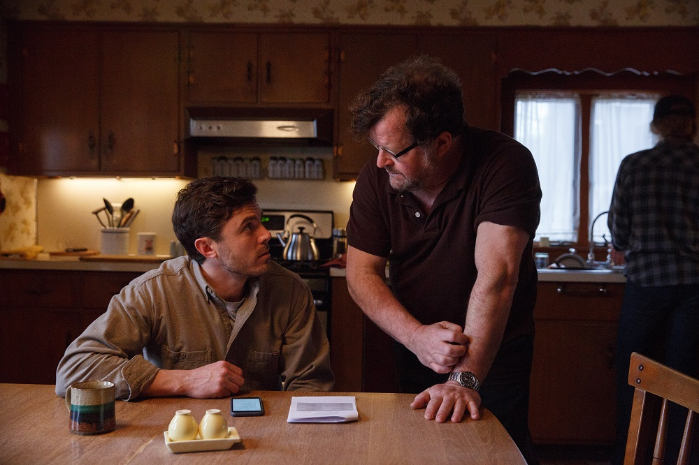 Casey Affleck and Kenneth Lonergan on set in Manchester by the Sea