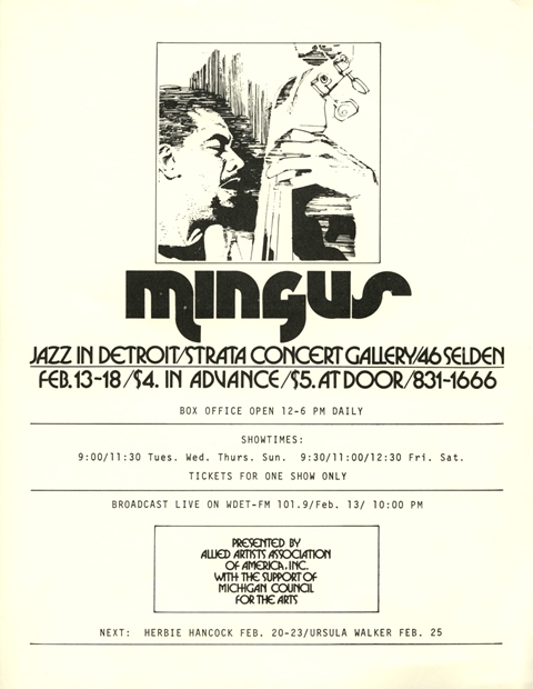 Charles Mingus Jazz in Detroit  Strata Concert Gallery 46 Selden_flyer