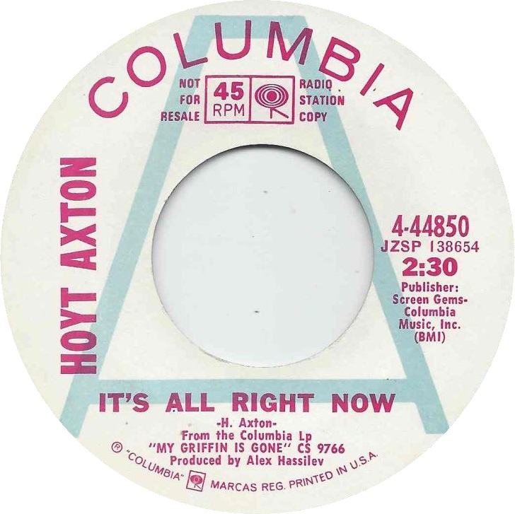 HOYT AXTON its all right now