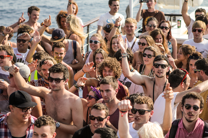 Daytime revellers on a party boat