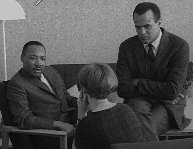 Martin Luther King and Harry Belafonte with Swedish interviewer