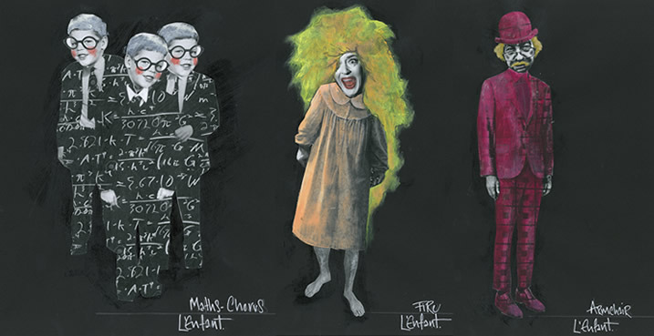 Costume designs for L'enfant et les sortileges at Opera North