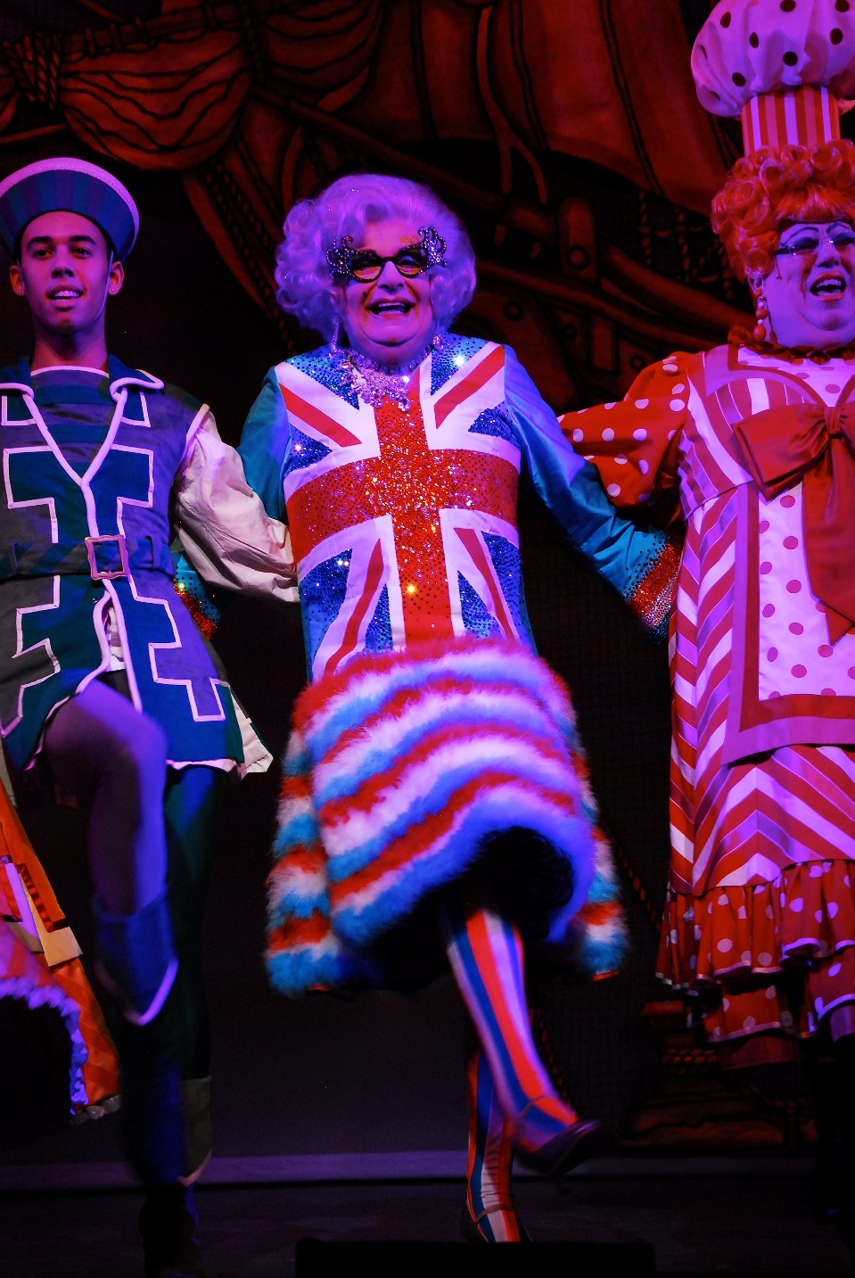 Dame Edna Everage and Sarah the Cook (Eric Potts, right) in Dick Whittington