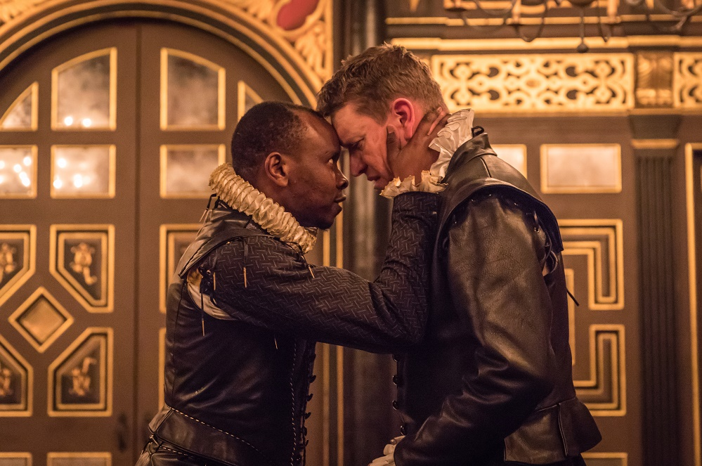 Kurt Egiawan as Othello and Sam Spruell as Iago in Othello, Shakespeare's Globe