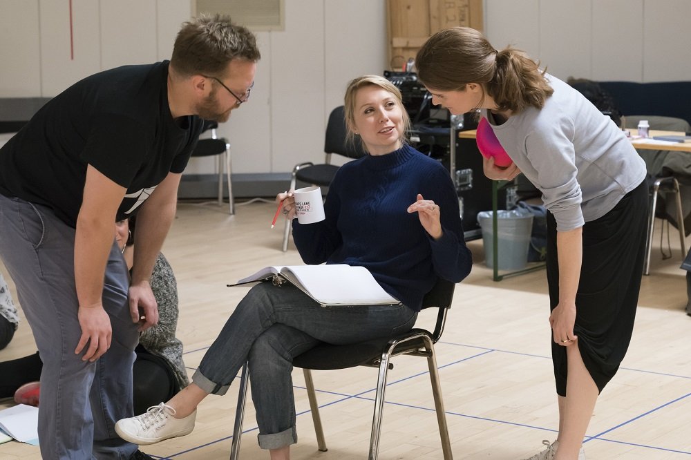 Sam Troughton, Polly Findlay and Justine Mitchell in rehearsal for Beginning at the National Theatre