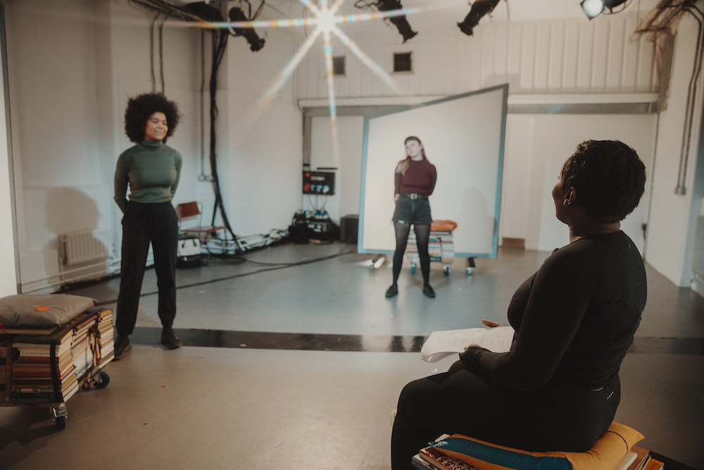 Isabel Adomakoh Young, Deborah Bahi, and Lucy Mangan in Living Newspaper: Edition 3 at the Royal Court