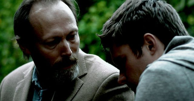 Lars Mikkelsen and Jack Reynor as father and son