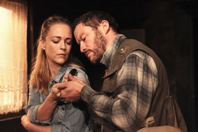 Miranda Raison and Dominic West in The River