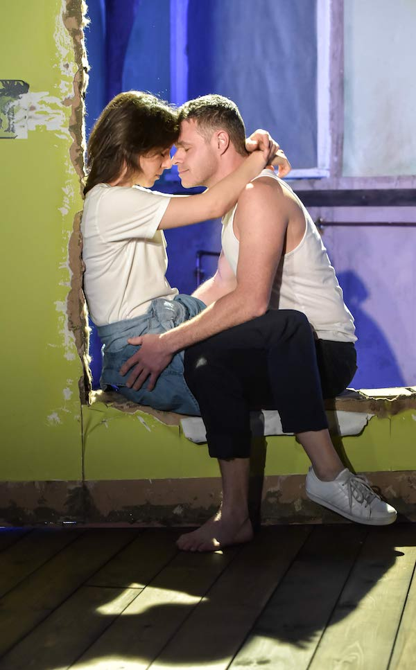 Natalie Klamar (Anne) and Richard Frame (Alan, Peter, Policeman) in Wilderness at the Hampstead Theatre