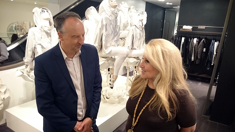 Jane Holzer with Stephen Smith in Bloomingdale's  BBC/David Shulman