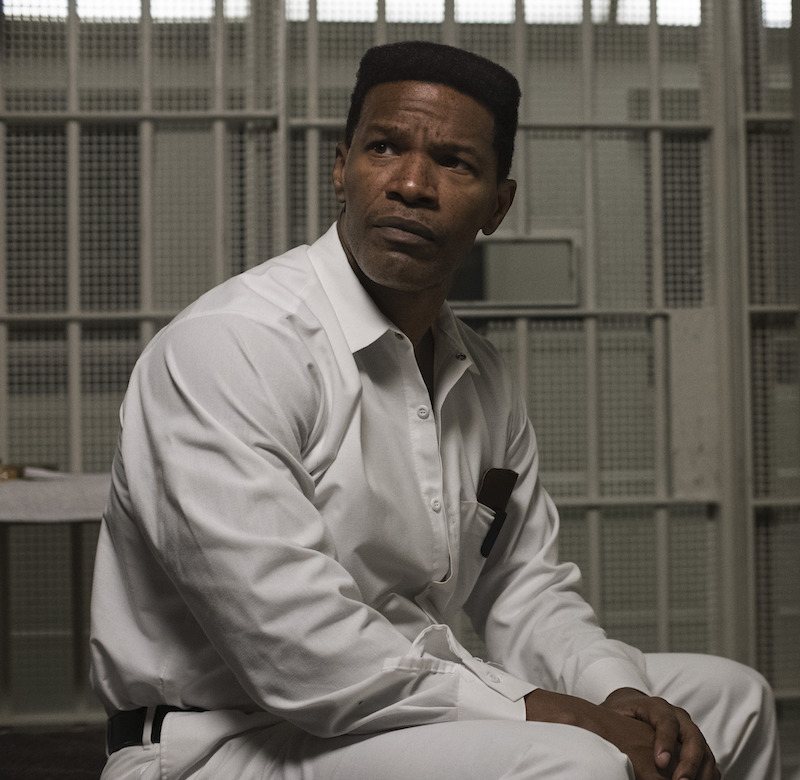 Jamie Foxx as Walter McMillian in Just Mercy