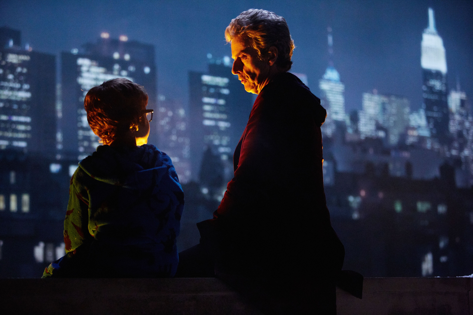 Logan Hoffman as Young Grant with the Doctor (Peter Capaldi) in the 2016 Doctor Who Christmas special
