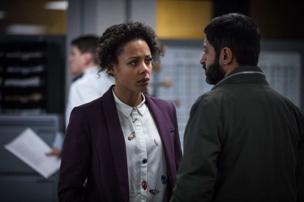DS Louise Rayburn (NINA TOUSSAINT-WHITE), DCI Deepak Sharma (ASH TANDON) in Bodyguard