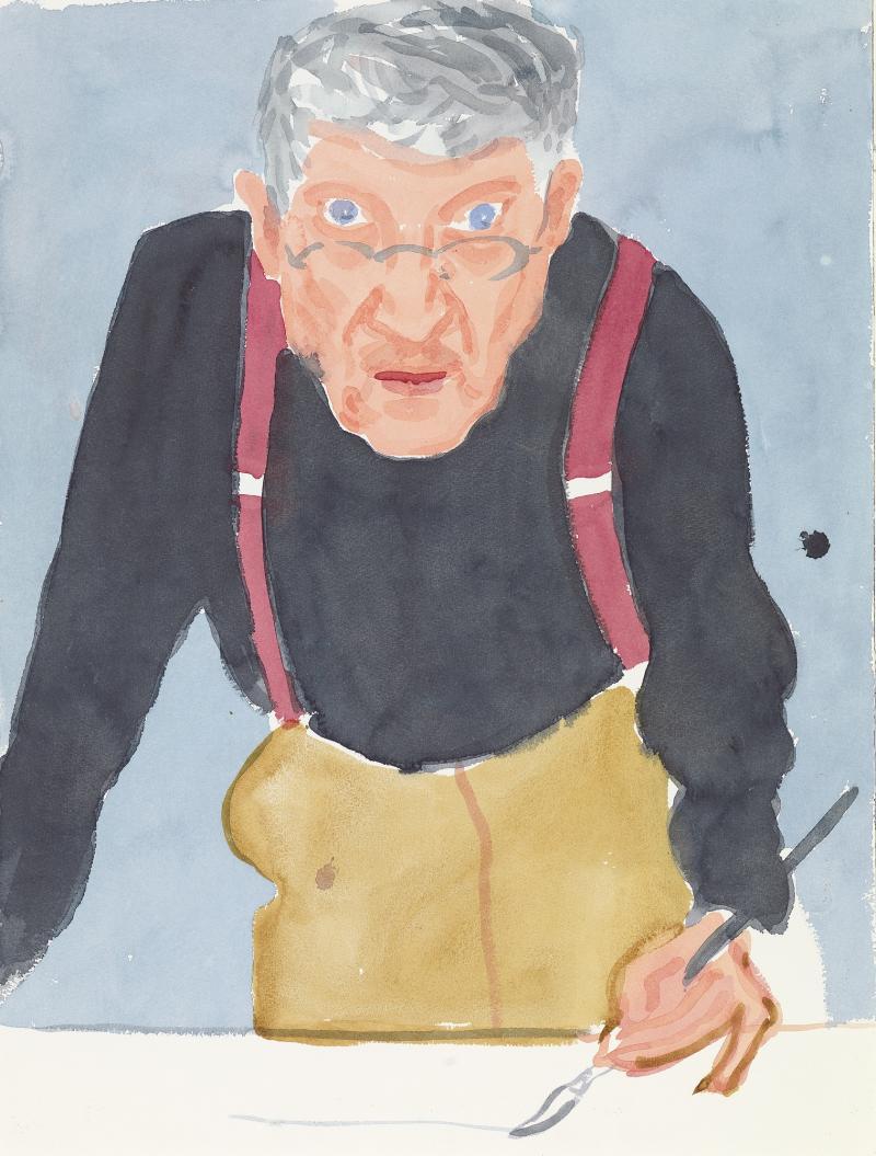 David Hockney, 'Self-Portrait with Red Braces', 2003 (c) David Hockney