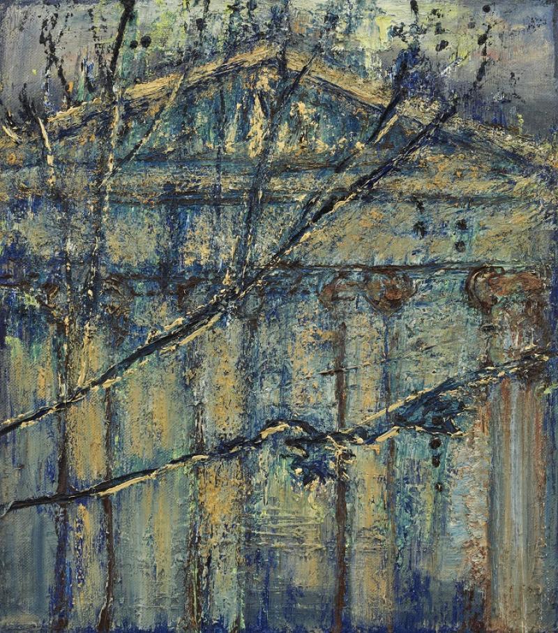 Celia Paul, 'British Museum and Plane Tree Branches', 2020 © Celia Paul Courtesy the artist and Victoria Miro